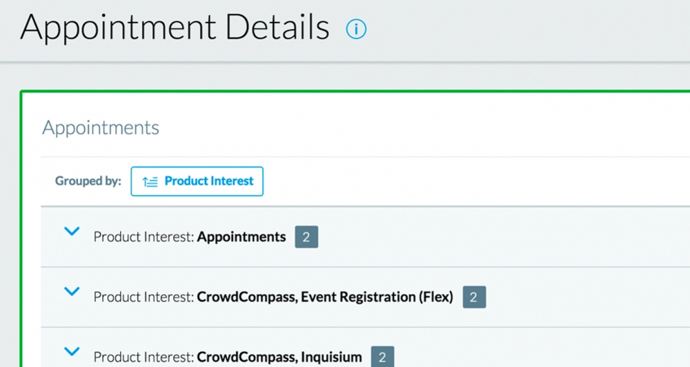 Universal Appointments Product Interest Screenshot