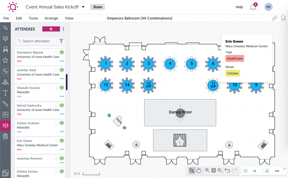social tables visual seating plan screenshot