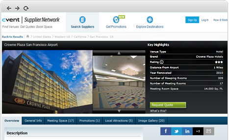 Screenshot of Crowne Plaza on Cvent's Supplier Network