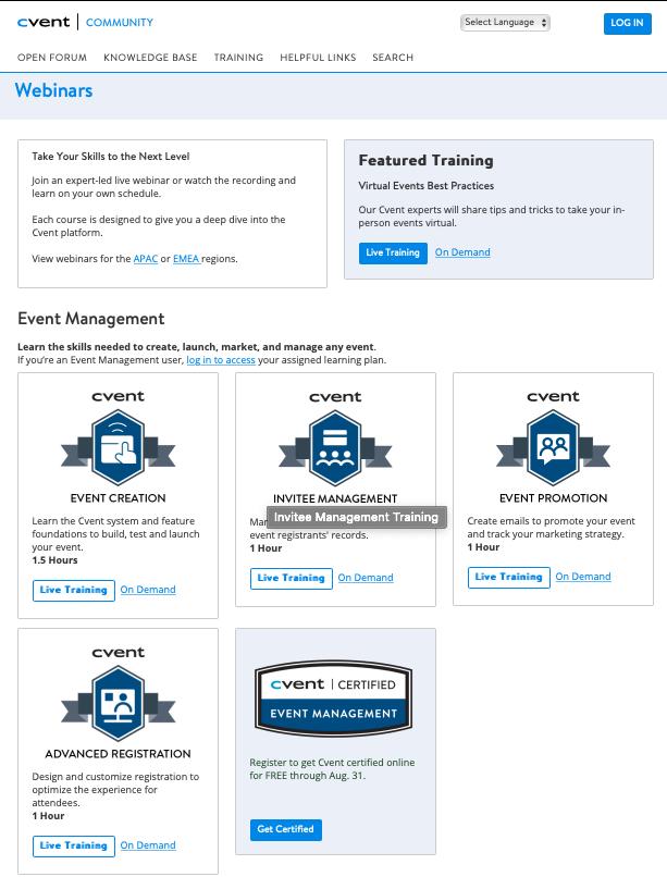 Cvent Community free event planner training webinars