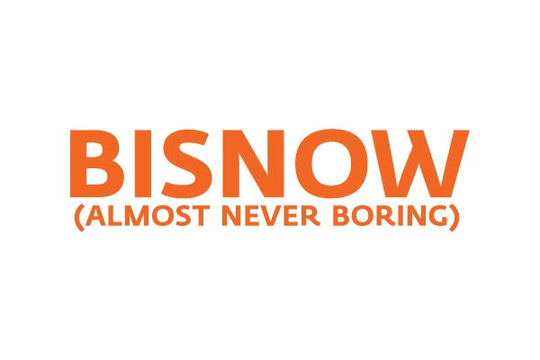 Bisnow (almost never boring) logo