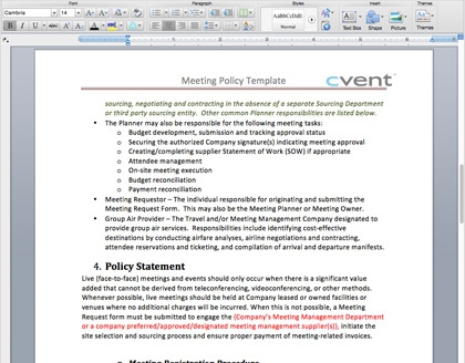 Smm Starter Kit Meetings Policy Template Cvent